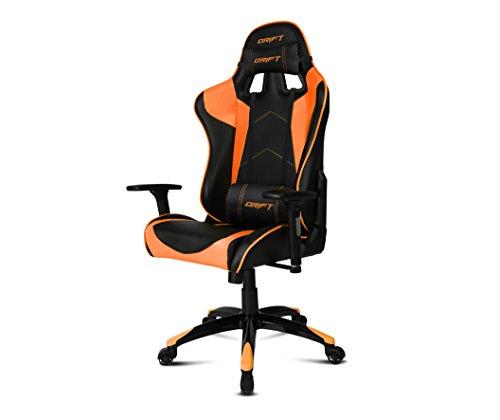 Drift DR300BO - Silla Gaming profesional, polipiel, reposabrazos 3D, piston clase 4, asiento basculante, altura regulable, respaldo reclinable, cojines lumbar y cervical, color negro/naranja