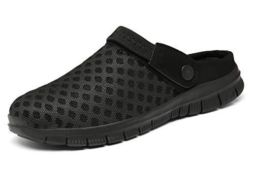 CELANDA Pantofle unisex, przepuszczające powietrze siateczkowe pantofle na lato, na plażę, antypoślizgowe buty do kąpieli, buty do ogrodu, buty Slip-On Aqua buty dla mężczyzn i kobiet, czarny - Voll Schwarz - 47 EU