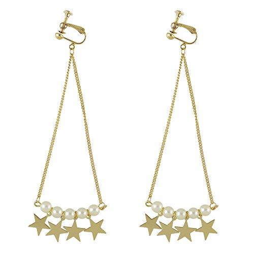 Feelontop® neueste Entwurfs-neue Goldlegierungs-Perlen- und Sterncharme lange Kettenclip-Ohrringe mit Schmucksache-Beutel