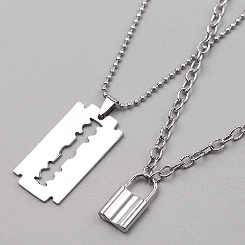 huangxuanchen co.,ltd Necklace Punk Lock Necklace Stainless Steel Double Layer Padlock Necklace Chain with Pendant Blade Shaver Men S Gift Jewelry