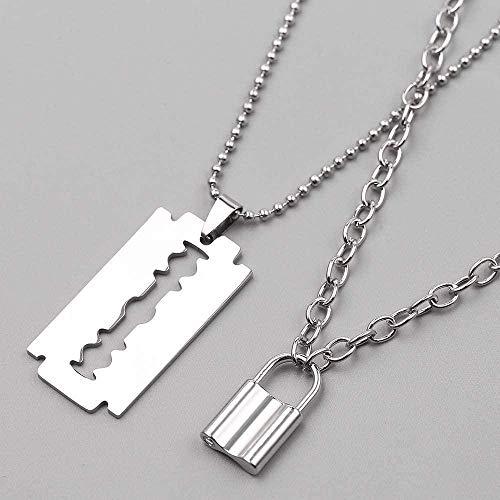 Ahuyongqing Co.,ltd Collar Punk Lock Collar de Acero Inoxidable de Doble Capa Collar de candado Cadena con Colgante Blade Shaver Hombres S Regalo Joyería