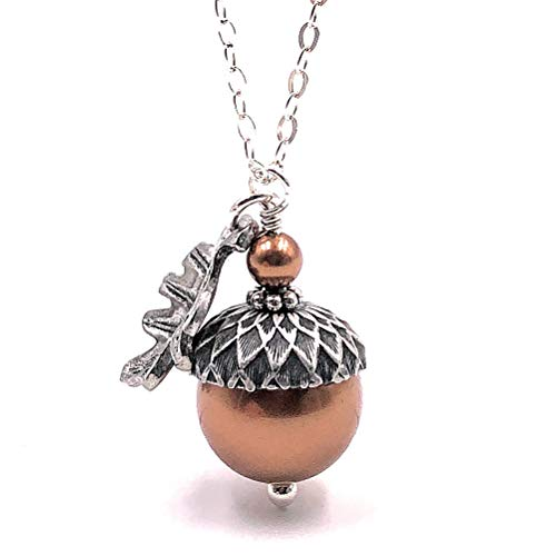 """Acorn Necklace with Oak Leaf Copper Colored Simulated Pearls from Swarovski, Sterling Silver Chain 20"""""""