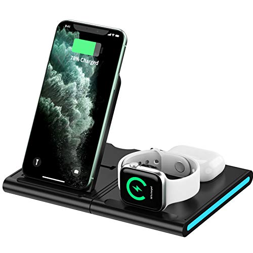 Wireless Charger,3 in 1 Qi-Certified Fast Charging Station Dock for iPhone 12/11/XR/XS/X/8/8 Plus/Samsung,Detachable and Adjustable Wireless Charging Stand for iWatch SE/6/5/4/3/2, AirPods 2/Pro