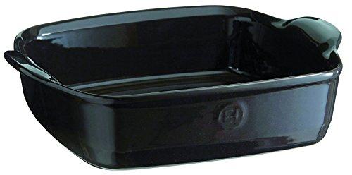 Emile Henry EH792050 Plat à Four Carré Céramique Noir Fusain 28 X 23 X 7,5 cm