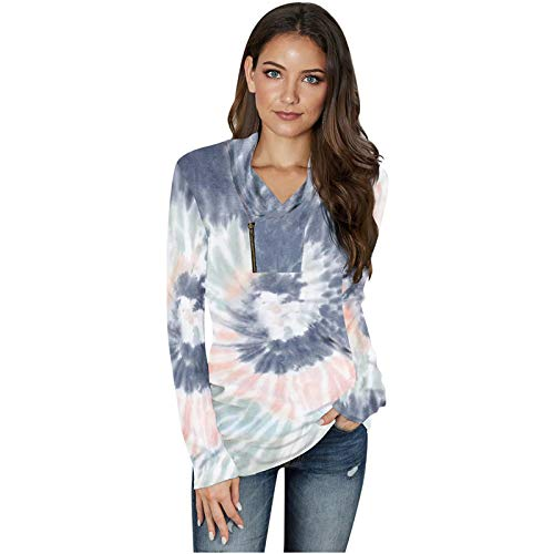 Viewk Women's Tie-dye Printed Sweatshirts Tops Star Print Pullvoer Long Sleeve Shirt White