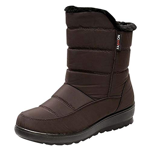 Alebaba - Botas de invierno cortas para mujer, impermeables, con plataforma, para el tobillo, con cordones, botas de invierno, color Marrón, talla 38 EU
