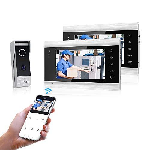 Jeatone 4 Hilos Apertura Videoportero Kit Con Apertura De Puerta Con 1 Tactil Monitores Interiorpantalla Monitor For Apartamentos/Smartphone Tuya App