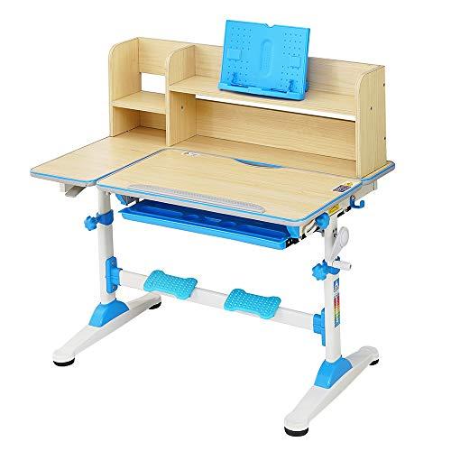 Natsen Kinderschreibtisch Schülerschreibtisch mit Bücherregal, Schublade und Lesenrahmen, höhenverstellbar neigbar, Schreibtisch für Kinder (Blau)