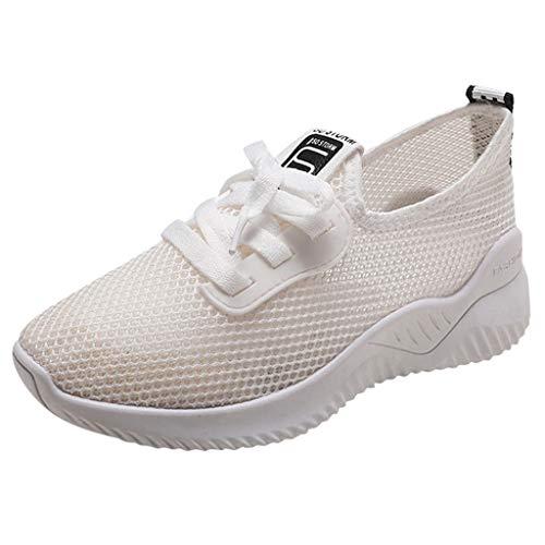 WQIANGHZI Damen Sneaker Weiss, Atmungsaktiv Sportschuhe Fitnessschuhe,Frauen Lace Up Mesh Laufschuhe Casual rutschfeste Running Fitness Textil Schuhe (39 EU, Beige)