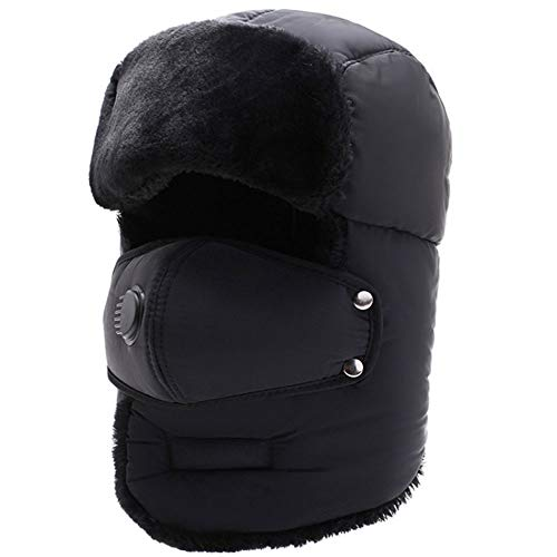 Van Caro Cold Weather Trapper Hat,Winter Hat with Face Mask Unisex,Windproof Warm Ushanka Hat with Ear Flap for Outdoor Skiing Sport Black
