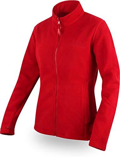 normani Damen Fleecejacke mit Stehkragen und extra winddichtem 280g Fleece Farbe Rot Größe S