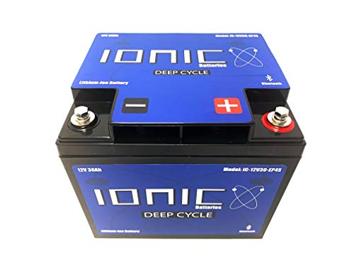 Lithium Ion Deep Cycle Battery 12V 30Ah - Ionic 12V30-EP - Built in Bluetooth Monitoring - 5 Year Warranty - Great for Trolling Motors, Kayaks, Lift Gates, Floor Sweepers, and more