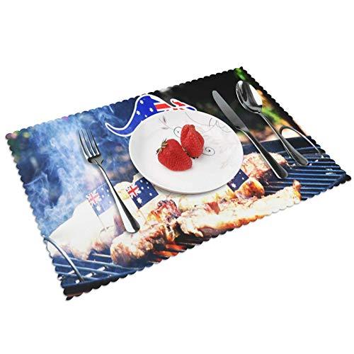 Platzset Filz 4er Set Tischset, Waschbare Tischuntersetzer Platzdeckchen, rutschfest Hitzebeständig Platz-Matten für Küche Speisetisch, Australischer Grill-Nahaufnahme-Mann