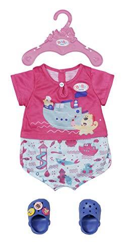 Zapf Creation 830628 BABY born Bath Pyjamas & Clogs 43 cm - pinkes Puppenkleidung Set bestehend aus Overall und Schuhen. Inkl. Kleiderbügel