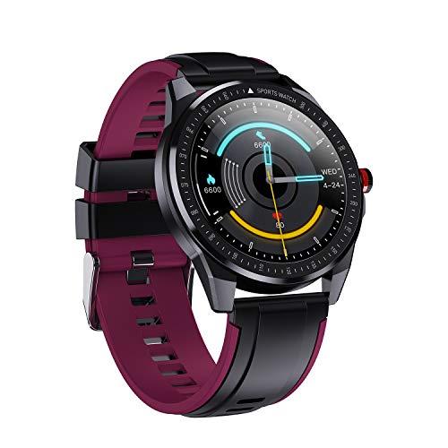 Pulsera inteligente de larga duración, multifunción, IP68, resistente al agua, deportivo, reloj inteligente digital para hombres y mujeres (puple)