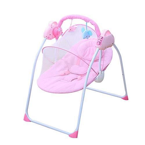 Sedia a dondolo per bambini elettrico, amaca con cuscini e zanzariere e 2 bambole di peluche, regolabili a 3 velocità, cintura di seduta a 5 punti, vibrazione lenitiva, buttafuori per neonati per neon