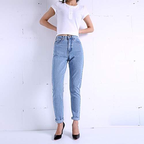 KXDNZK ZKKXDN Harem Broek Vintage Hoge Taille Jeans Vrouw Jongens Vrouwen Jeans Volledige Lengte Moeder Jeans Cowboy Denim Broek 28 blauw