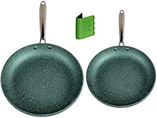 Induction Nonstick Frying Pan Set PFOA Free, Green, 9.5 & 11 Inch Non Stick Skillets, Metal Utensil Safe - WaxonWare Emera...