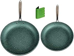 WaxonWare Emerald Series Induction Nonstick Frying Pan Set PFOA Free, Green, 9.5 & 11 Inch Non Stick Skillets, Metal Utens...