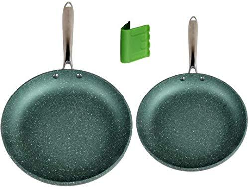 Induction Nonstick Frying Pan Set PFOA Free Green 95 11 Inch Non Stick Skillets Metal Utensil Safe - WaxonWare Emerald Series