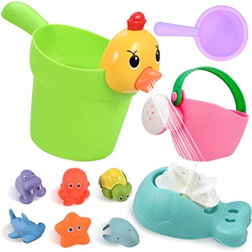 GOLDGE 10pz Juguetes Bañera para Bebés, Juguetes de Natación del Flotante Juegos de Agua Orgsnizador Baño Los Niños Niña Juguetes Educativos Seguro sin BPA