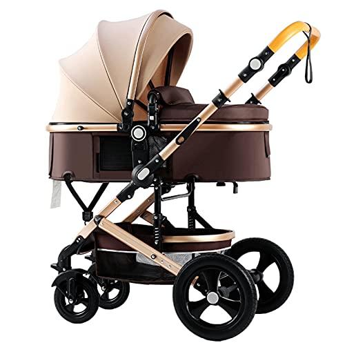 Cochecito de bebé, Cochecito de bebé ajustable de alta vista, Cochecito de bebé reversible con parasol, Sistema de viaje de Cochecito de bebé Plegable Portátil con Una Mano con canasta grande