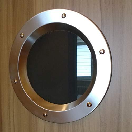 Bullauge Fenster für Tür Edelstahl INOX 350mm Glas transparent Muttern Flansch