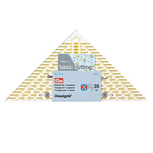 Prym Flottes Dreieck 1/4 Quadrat cm Omnigrid Lineal, Kunststoff, transparent