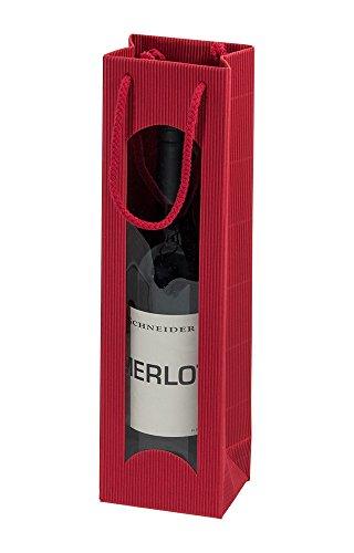 10 Stück/Set. Wein 1er Flaschenbeutel aus Wellpappe, Rot mit Sichtfenster