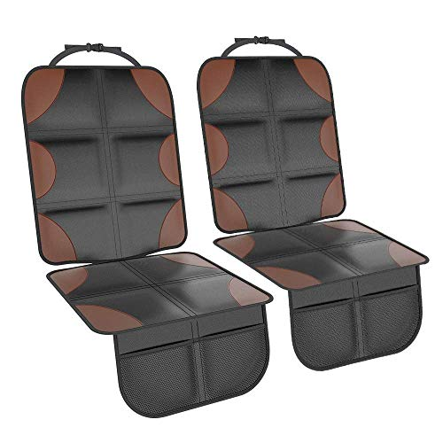 Smart eLf Car Seat Protector, 2 Pack Large Waterproof 600D Fabric Child Baby Auto Seat Protector with Thickest Padding and Storage Pockets for SUV, Sedan, Truck, Leather and Fabric Car Seat