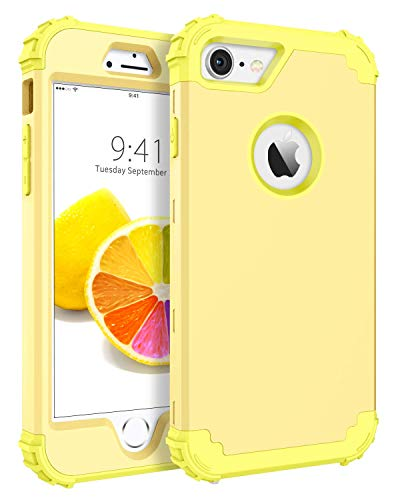 BENTOBEN iPhone 8 Case, iPhone 7 Case, Heavy Duty Shockproof 3 in 1 Slim Hybrid Hard PC Soft Silicone Rubber Bumper Rugged Protective Phone Case Cover for iPhone 8 /iPhone 7 (4.7') Yellow/Lemon