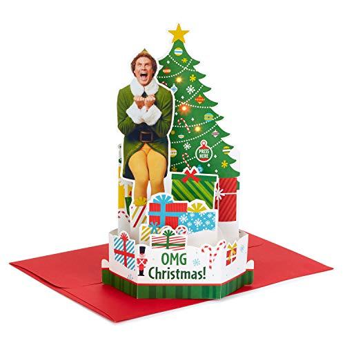 Hallmark Paper Wonder Elf Displayable Pop Up Christmas Card with Sound (Buddy The Elf) (999XSO1054)