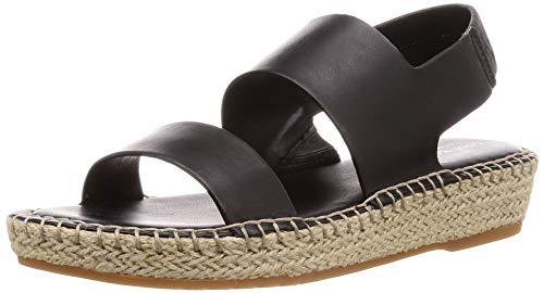 Cole Haan Cloudfeel sandalia de alpargata para mujer, Negro (Black Leather/Natural Jute/Gum), 38.5 EU