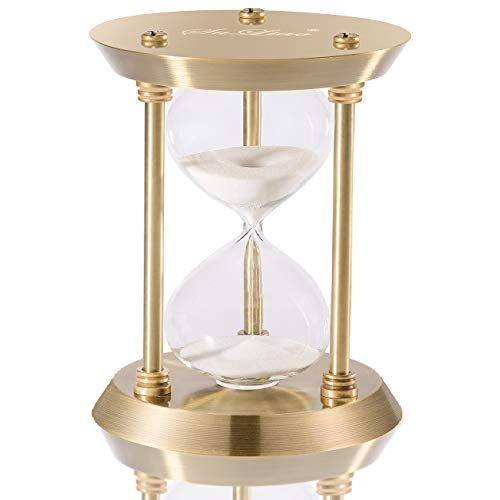 SuLiao Hourglass Timer Sand Clock 60 Minutes & Brass Metal Hour Glass for Decor Sandglass Timer