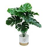 Planta artificial Palme Monstera plantas artificiales en maceta, plantas decorativas, bonsái tropical, árbol artificial, altura de 45 cm, verde para alféizar de ventana, baño, oficina, jardín