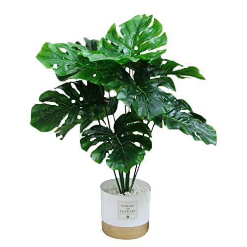 Kunstpflanze Palme Monstera Künstlich Pflanzen im Topf Dekopflanzen Zimmerpflanze Tropische Bonsai Baum Kunstbaum Höhe 45cm Grün Dekopflanzen für Fensterbank,Badezimmer, Büro,Garten