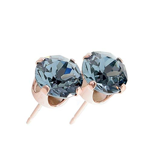 pewterhooter women's Rose gold stud earrings made with Indian Sapphire crystal from Swarovski. Gift box. Made in the UK. Hypoallergenic & Nickle Free for Sensitive Ears.