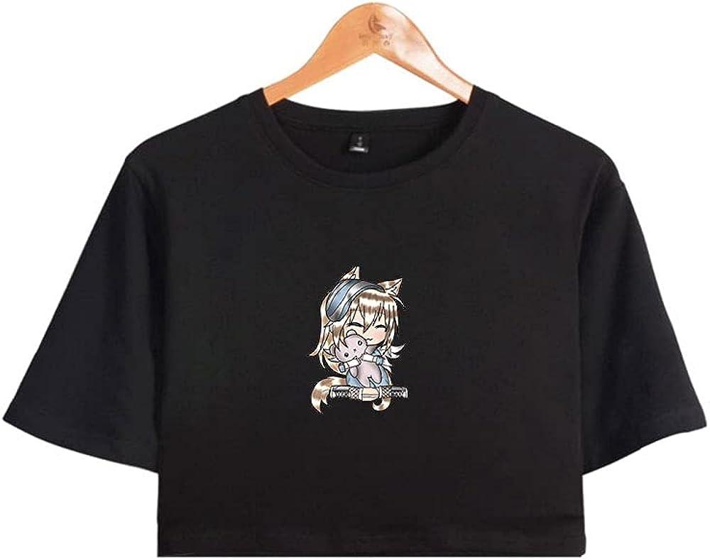 Gacha Life Crop Top Tee Shirts Short-Sleeve for Girls Youth Pure Cotton Tee
