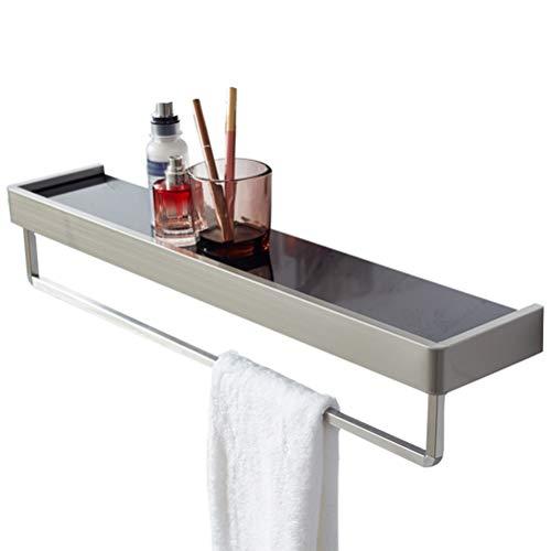 Estante de baño de vidrio flotante Toallero de barra de acero inoxidable, Rack de toalla Rieles Colgador Ducha Organizador de plato de mano Organizador Montado en la pared Almacenamiento de co