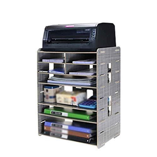 BESISOON Multifunktionaler Dateihalter Kreative Multifunktionale Holz Desktop Storage A4A3 Datei Halter Druckerhalterung Schreibtisch File Organizer (Color : D, Size : 56x26x42cm)
