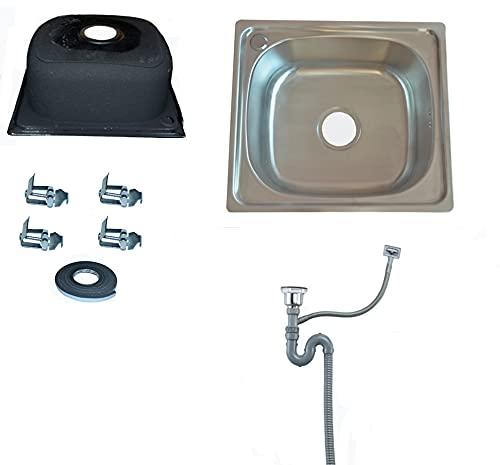 Omeere - Fregadero pequeño de acero inoxidable 304, 0,8 mm, 46 x 41 x 20 cm, fregadero de cocina rectangular, 1 seno para camping o jardín.
