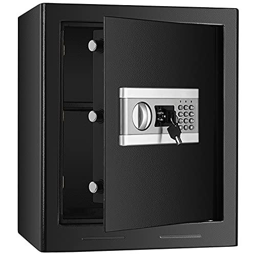 Tresor Elektronischer Safe, BITOWAT Feuerfest Wasserdicht Passwort Safe 43L Safe Cabinet Ganzstahl Triple Lock Core Box Home Office Safe Möbeltresor Für Ausweise, A4-Dokumente, Laptop, Schmuck
