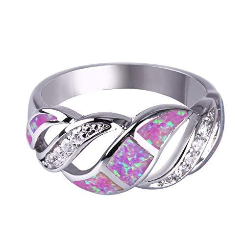 Anillos KELITCH para mujeres y niñas con incrustaciones de rugby, anillo de declaración de ópalo blanco, joyería plateada para mujeres 63B-9
