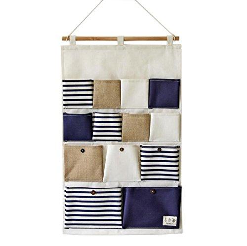 Sfghouse Portaoggetti con 13tasche da parete, a righe Blue Stripe