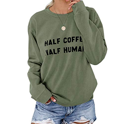 Yiuk Damen Herbst Casual Langarm Rundhals Sweatshirts Brief Drucken College Lose Pullover Tunika Tops (Armeegrün,Large)