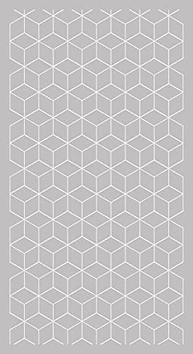 Lovib Alfombra Vinílica Geométrica Cubo | Color Gris | 60x110 cm | Vinilo PVC | Alfombra Cocina Vinilo | Alfombra Salón Antideslizante Antihongos Ignífuga | Alfombras Grandes | Alfombras PVC