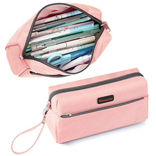 Homecube Pencil Case Cosmetic Bag Student Stationery Pouch Bag Office Storage Organizer for Girl Boy Women Men - Pink