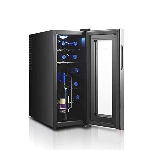 MINGDIAN Enfriador de Vino de 12 Botellas Bodegas de Vino Independientes Blanco con Control Digital Acabado con protección UV Descongelación automática de Doble Capa