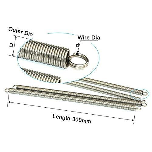 NO LOGO L-Yune, 1Pcs 300mm Doppelhaken Lange Expansion Zugfedern Hardware Zubehör 304 Edelstahl-Draht-Durchmesser 0.7-1mm Außen-Ø 5-12mm (Größe : 1 x 12 x 300mm)
