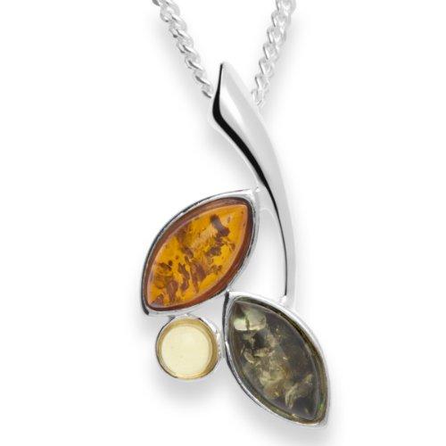 InCollections Damen-Halskette 925 Sterling Silber 3 Bernsteine mehrfarbig 42 cm